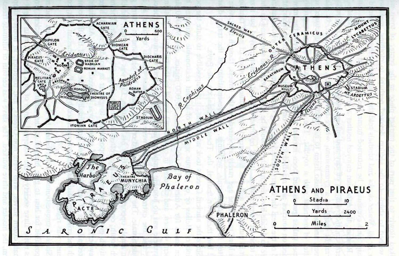 Карта автодорог города Афины, масштаб